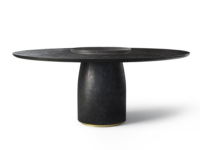 Round reconstructed marble table with Lazy Susan BULÈ by Lema