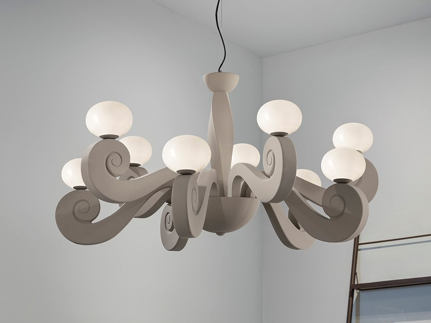 Expanded polyurethane chandelier BUSTIER S5+5 by Masiero