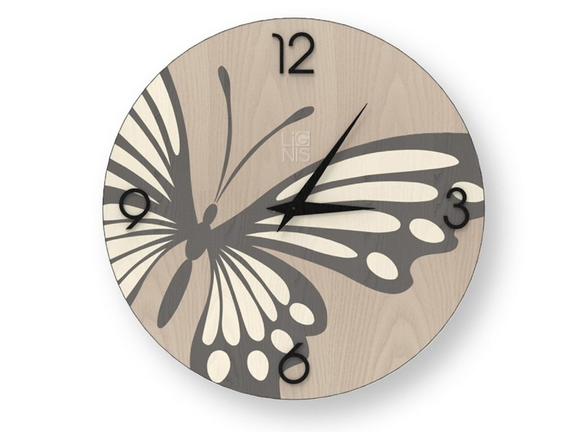 Wall clock made of inlayed wood BUTTERFLY COLD | Clock by LIGNIS®