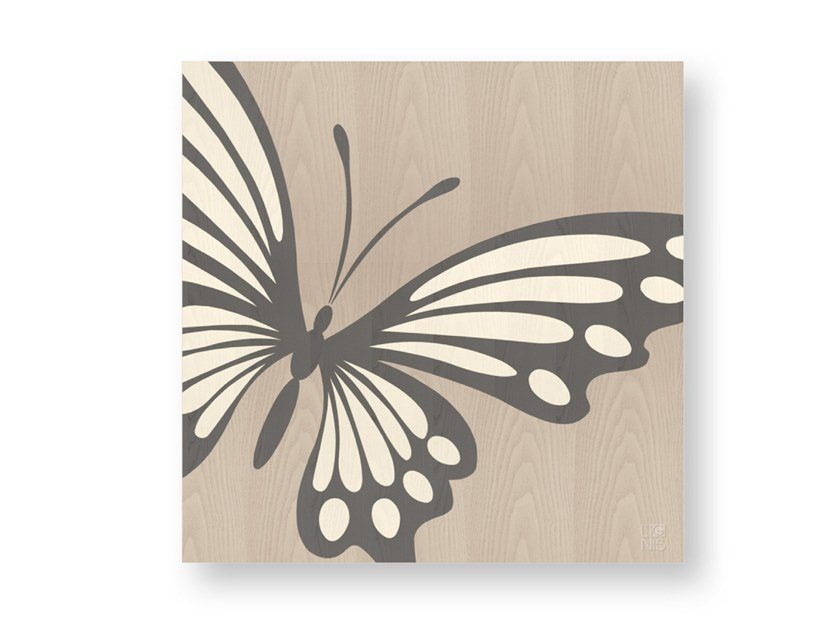 Decorative panel made of inlayed wood BUTTERFLY COLD by LIGNIS®
