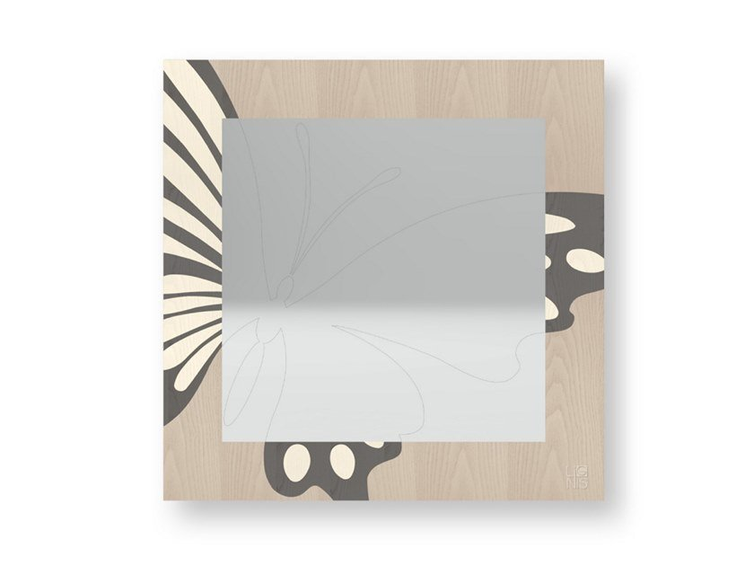 Square wall-mounted framed mirror BUTTERFLY COLD | Mirror by LIGNIS®