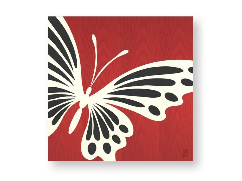 Decorative panel made of inlayed wood BUTTERFLY COLORS by LIGNIS®