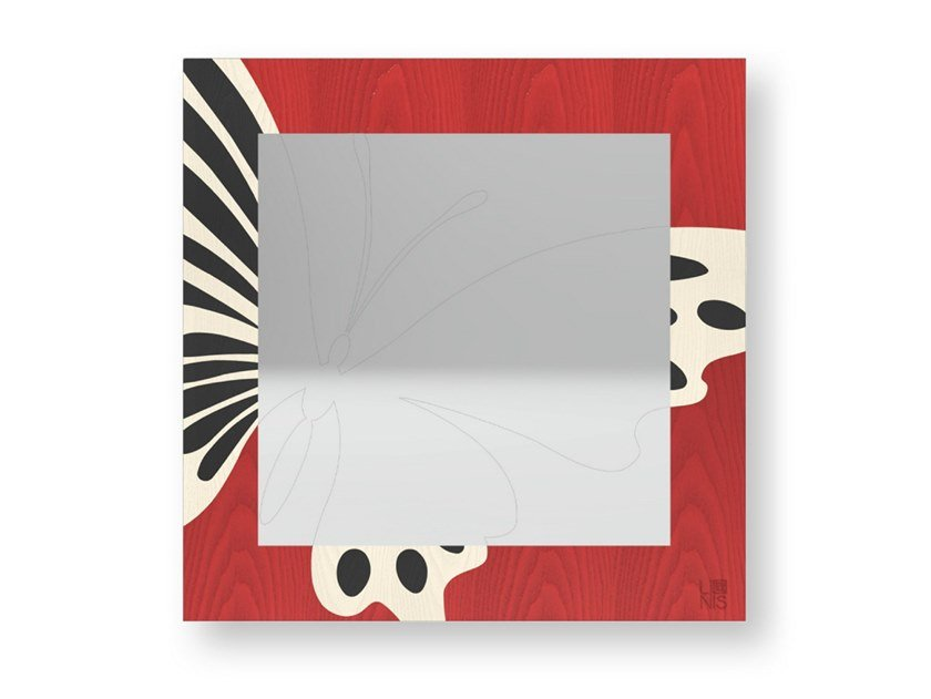 Square wall-mounted framed mirror BUTTERFLY COLORS | Mirror by LIGNIS®