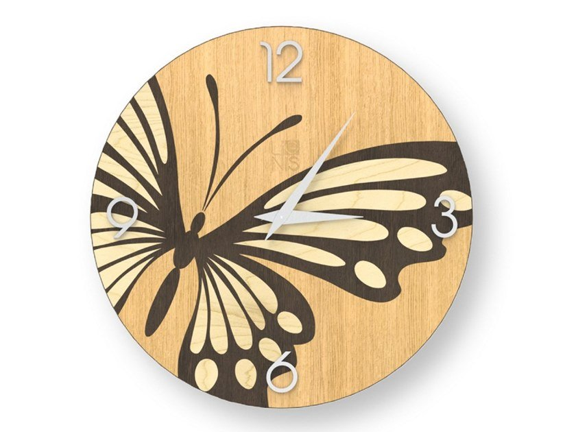 Wall clock made of inlayed wood BUTTERFLY WARM | Clock by LIGNIS®