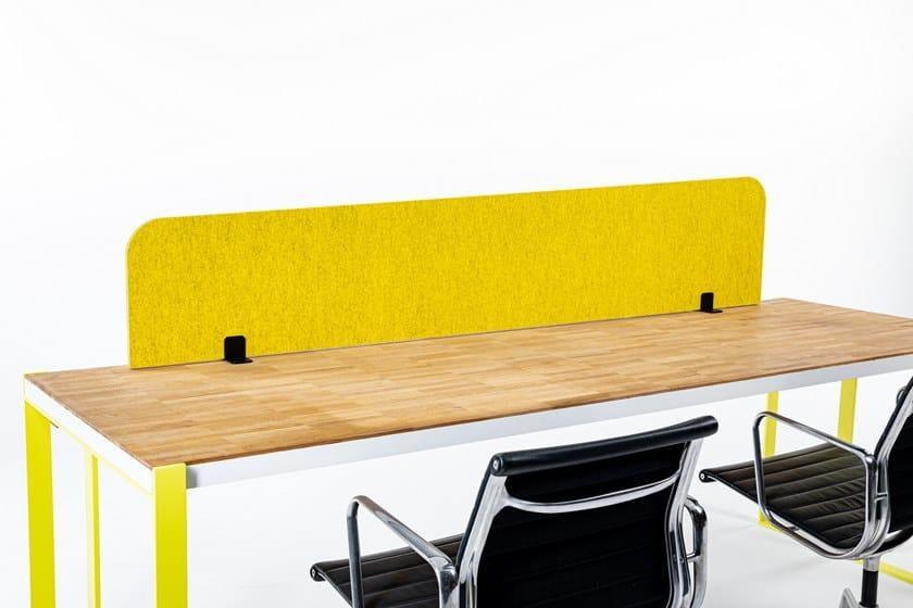Sound absorbing mobile Recycled PET desktop partition BuzziTripl Desk by BuzziSpace