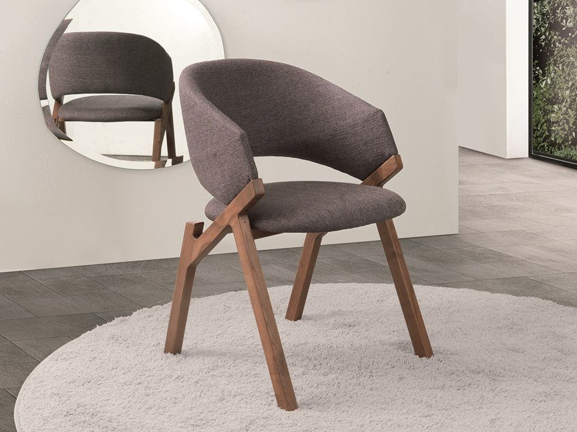 Upholstered chair with armrests BYRON by Pacini & Cappellini