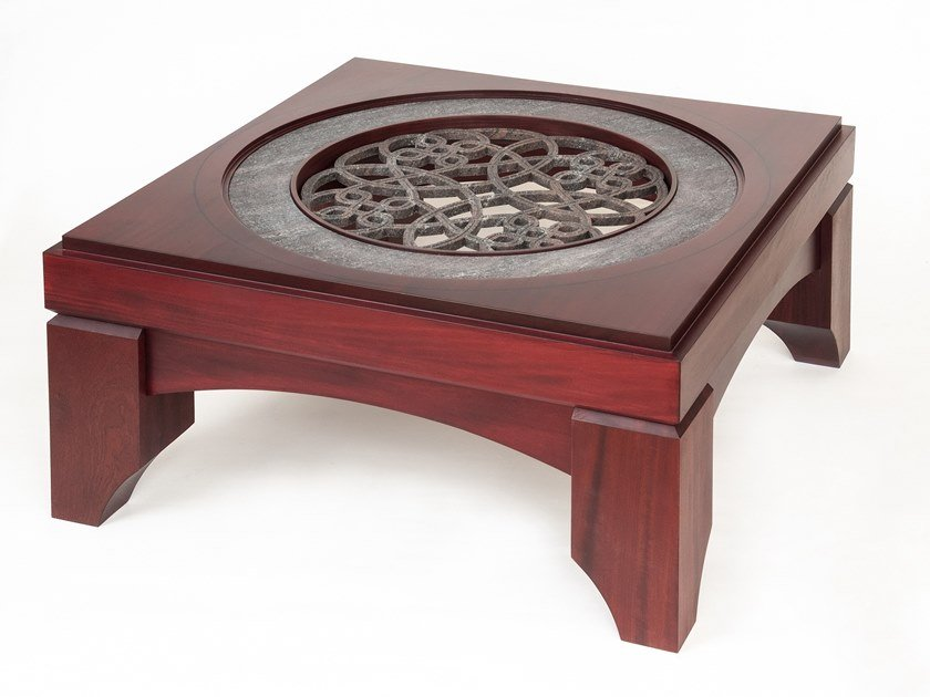 Square wooden, granite, glass coffee table BYZANTIUM by MANEDA
