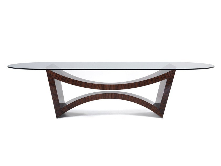 Oval crystal table C 1390 | Oval table by Annibale Colombo