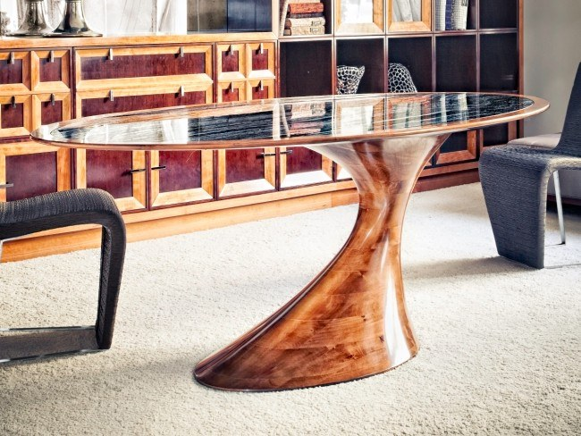 Oval solid wood table BEND | Wooden table by Annibale Colombo