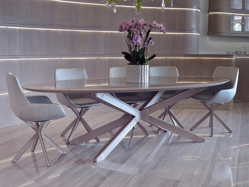 Oval steel and wood table C 1451 | Table by Annibale Colombo