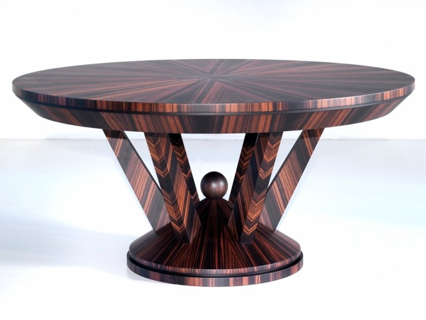 Round ebony dining table C 1589 | Table by Annibale Colombo