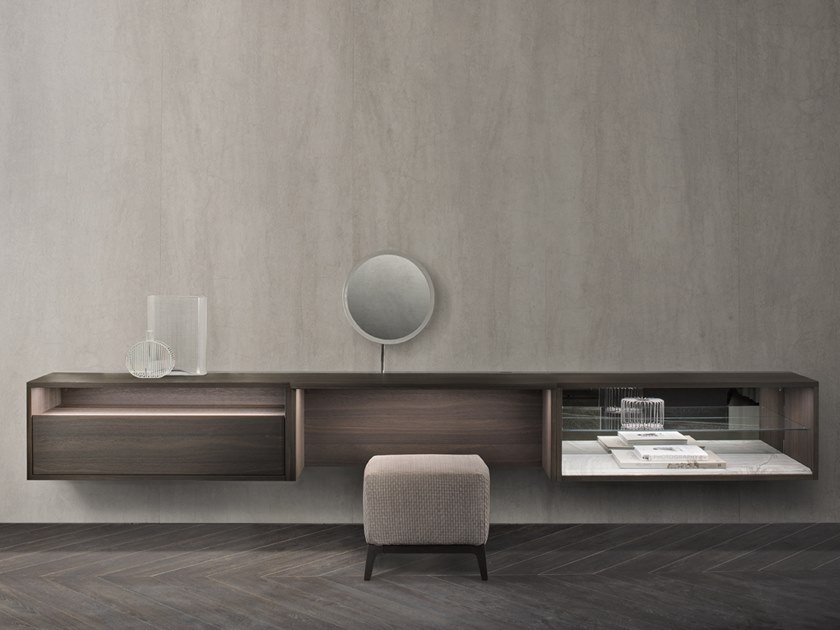 Sectional wall-mounted wooden storage wall C-SYSTEM by Flou