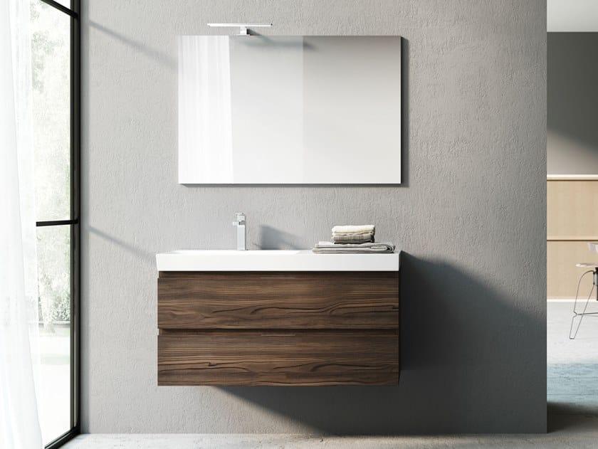 Mobile lavabo sospeso in laminato con specchio C72 | Mobile lavabo by Mobiltesino