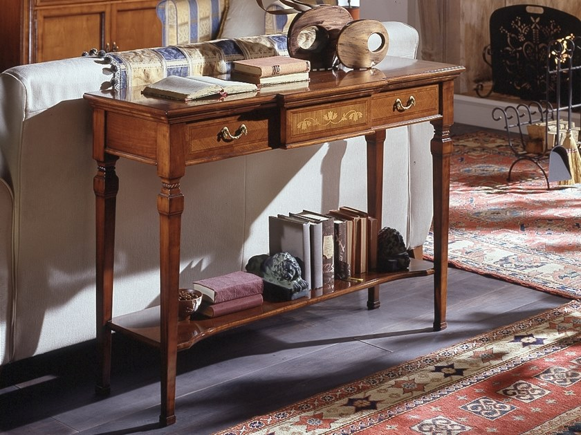 Rectangular cherry wood console table with drawers CA' DOLFIN | Rectangular console table by MOLETTA