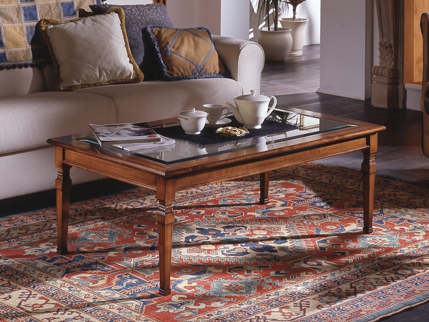 Rectangular wood and glass coffee table CA' DOLFIN | Wood and glass coffee table by MOLETTA