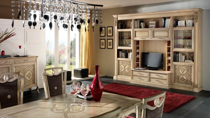 Modular ash TV cabinet with shelves CA' FOSCARI   TV cabinet by MOLETTA