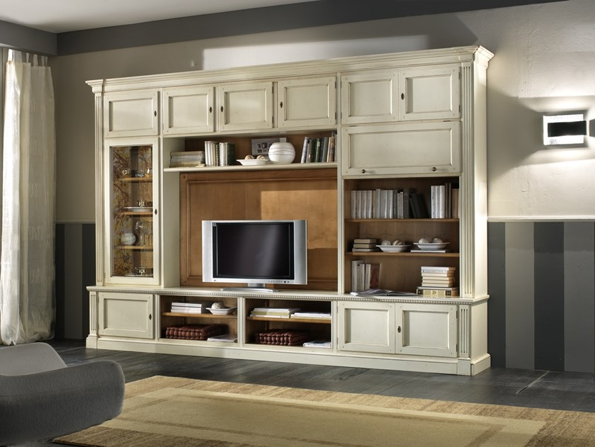 Sectional lacquered TV wall system CA' REZZONICO | Lacquered storage wall by MOLETTA