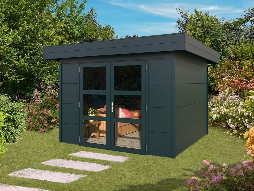 Aluminium Garden Shed Outdoor Cabin With Flat Roof By Gardendreams