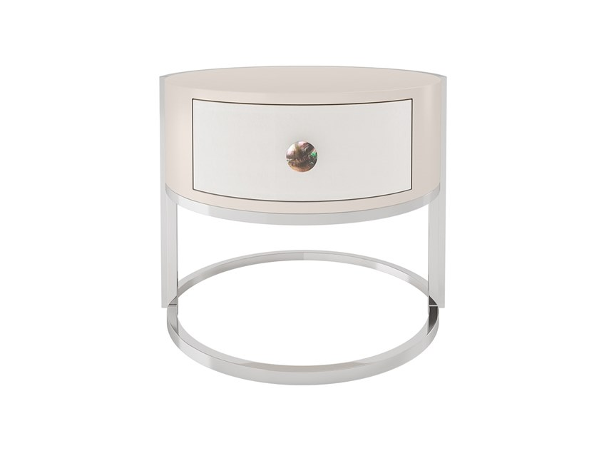 Lacquered round wooden bedside table with drawers CABOCHON   Bedside table by FRATO