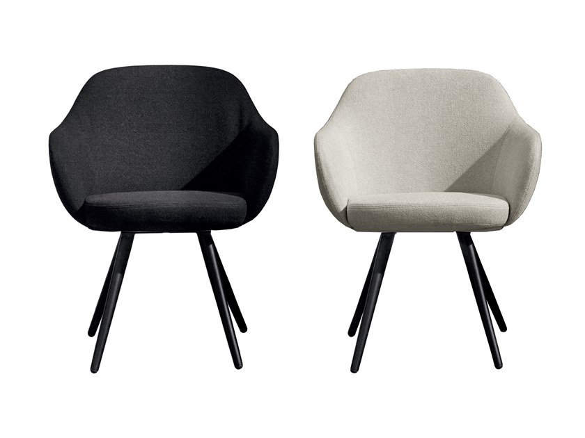 Upholstered fabric chair with armrests CADIRA by Sovet italia