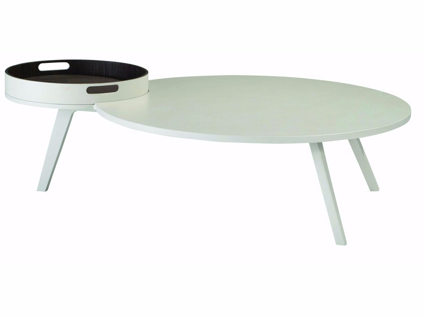 Lacquered MDF coffee table for living room with tray CAFE CREME by ROCHE BOBOIS