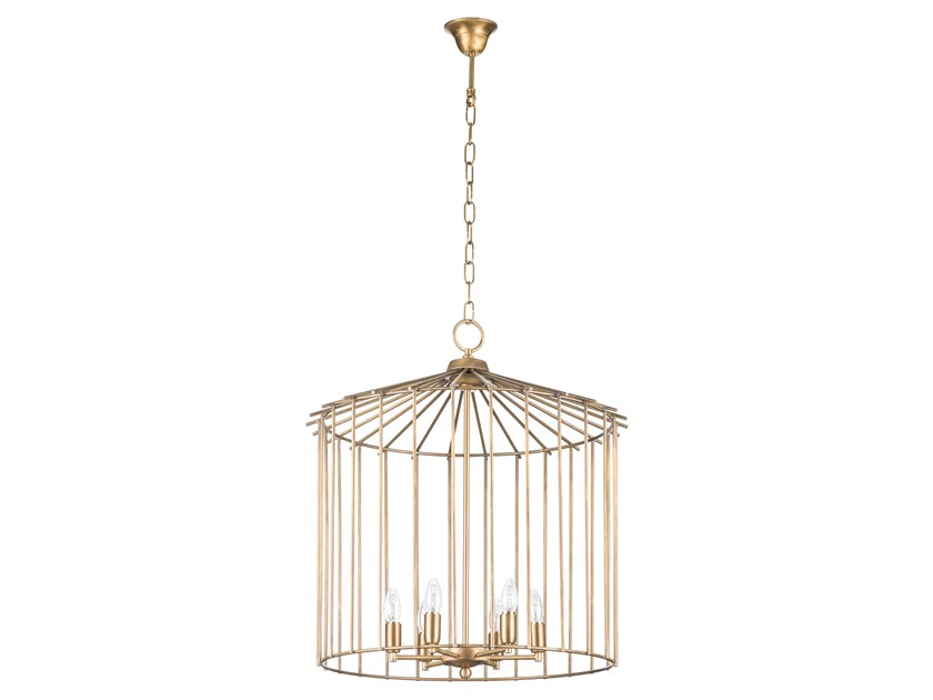 Brass pendant lamp CAGE 01 IN by Il Bronzetto