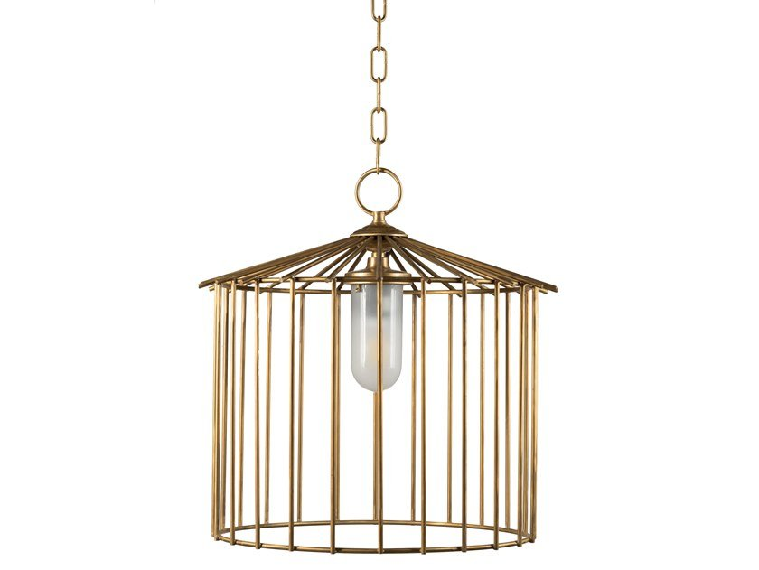 Brass pendant lamp CAGE 01 OUT by Il Bronzetto