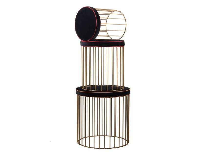 Upholstered round brass pouf CAGE 04 SET by Il Bronzetto
