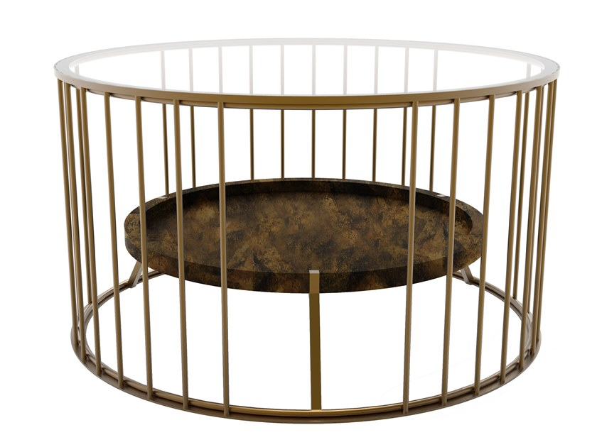 Low round brass coffee table CAGE 05 DOUBLE by Il Bronzetto