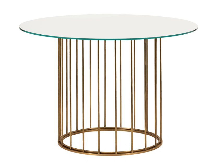 Round brass table CAGE 06 by Il Bronzetto