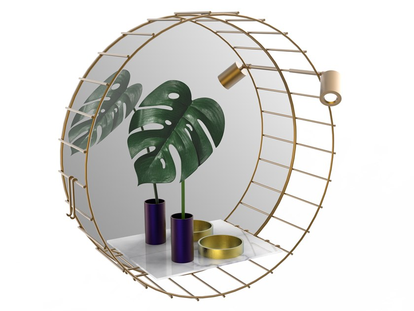 Round brass mirror with integrated lighting CAGE 07 Extra A by Il Bronzetto