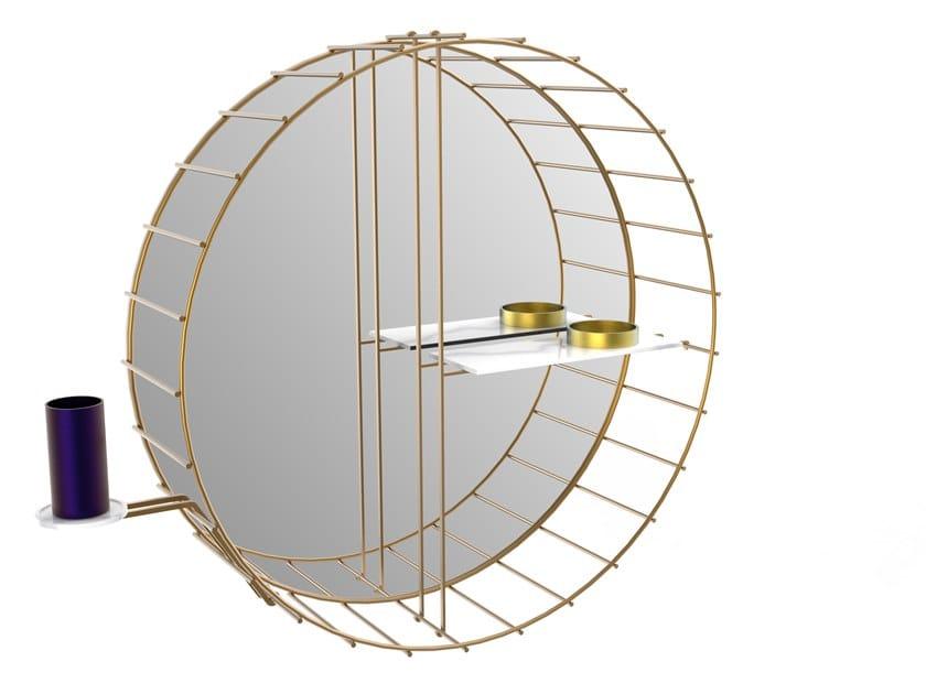 Round brass mirror with shelf CAGE 07 Extra B by Il Bronzetto