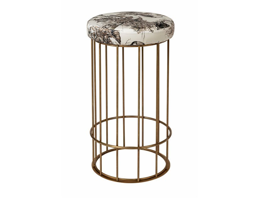 Brass stool with footrest CAGE 09 by Il Bronzetto