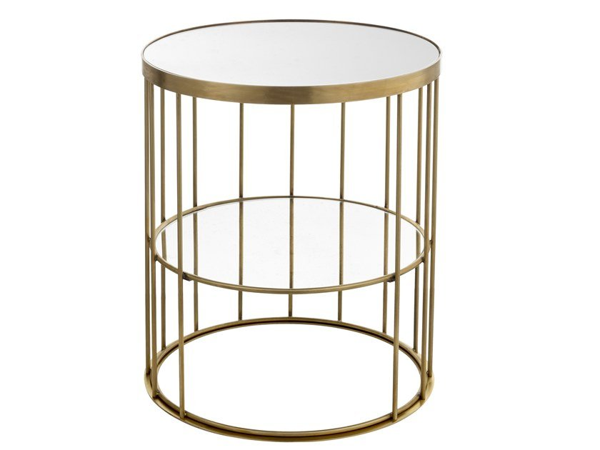 Round brass coffee table CAGE 10 by Il Bronzetto