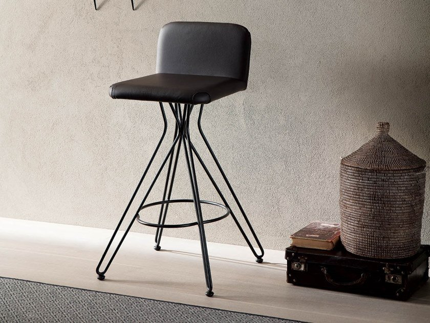 High upholstered leather stool CALEB by Ozzio Italia