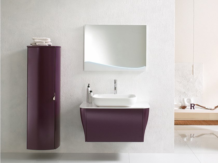 Wall-mounted vanity unit with mirror CALYPSO 04 by BMT