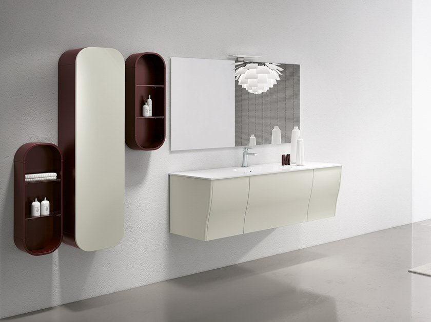 Wall-mounted vanity unit with mirror CALYPSO 06 by BMT