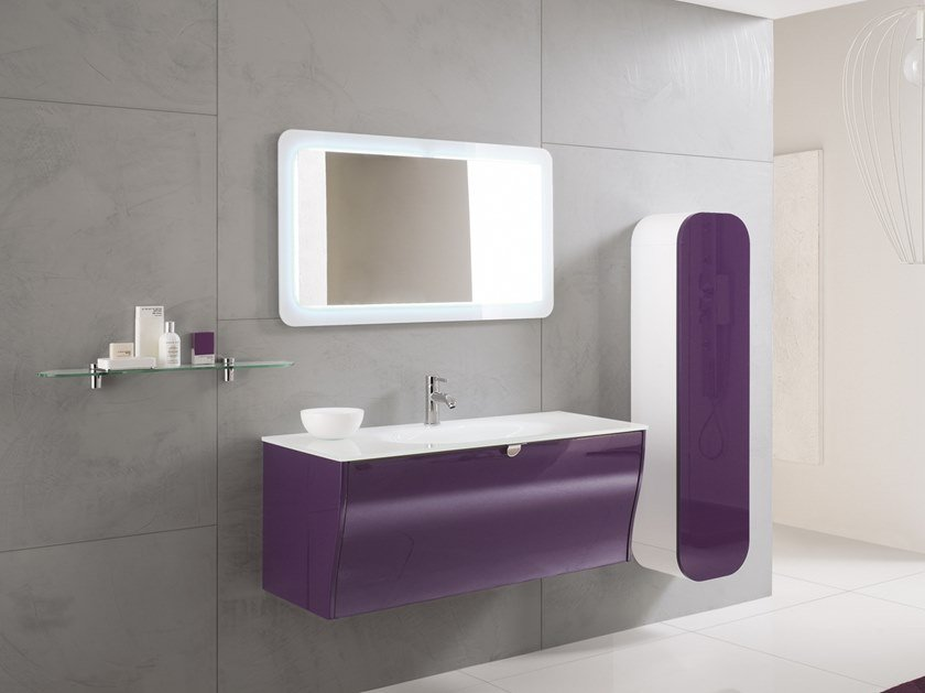 Wall-mounted vanity unit with mirror CALYPSO 07 by BMT