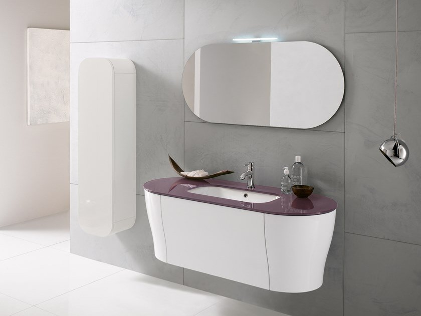 Wall-mounted vanity unit with mirror CALYPSO 10 by BMT