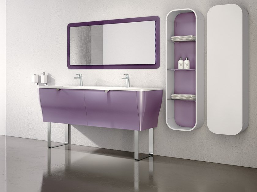 Double vanity unit with mirror CALYPSO 11 by BMT