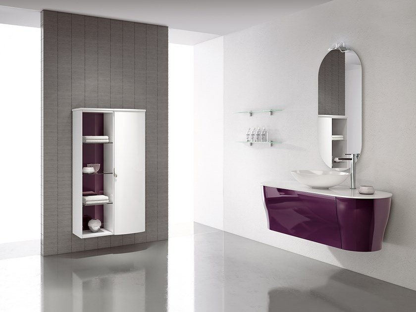 Wall-mounted vanity unit with mirror CALYPSO 15 by BMT