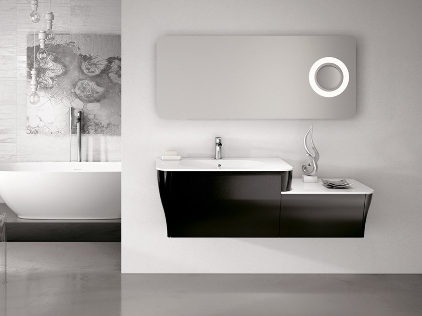 Wall-mounted vanity unit with mirror CALYPSO 16 by BMT