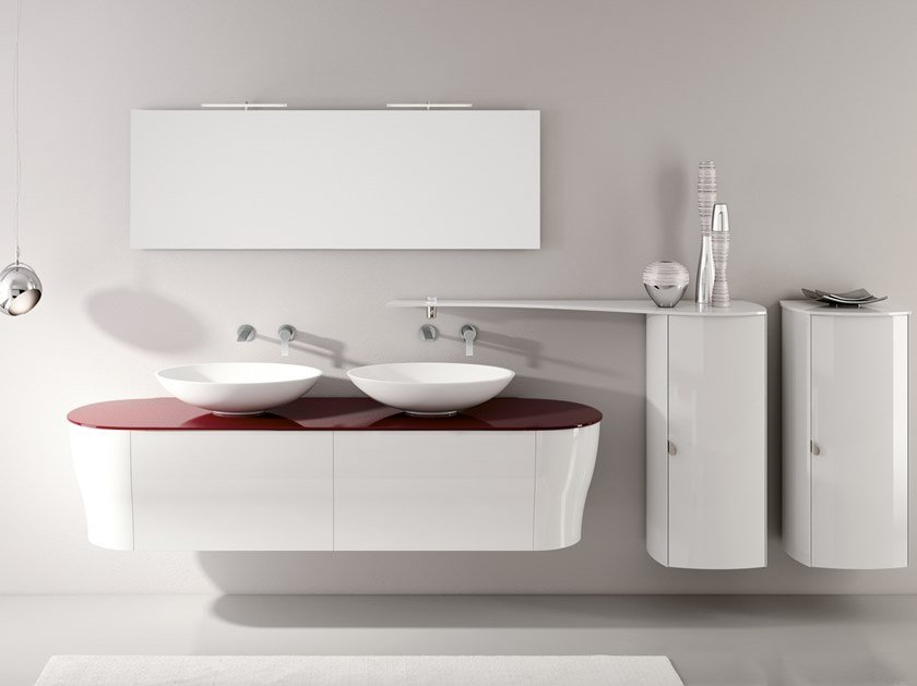 Double vanity unit with mirror CALYPSO 18 by BMT