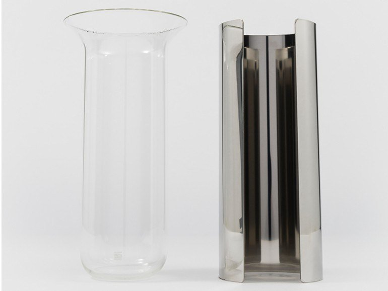 Glass and Stainless Steel vase CAMICIA B by Danese Milano