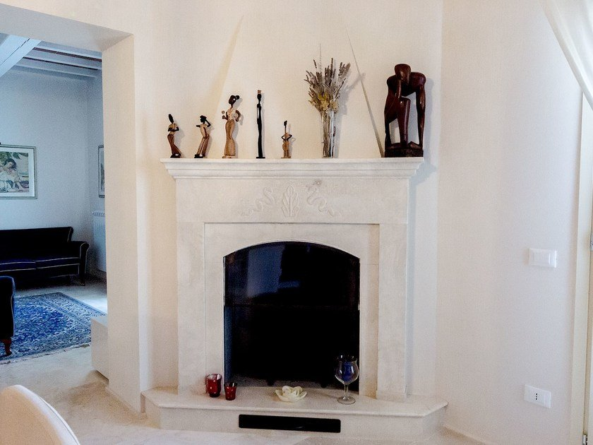 Wall-mounted natural stone fireplace Fireplace 20 by GH LAZZERINI