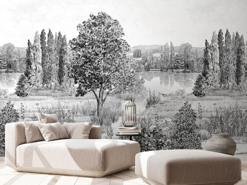 Panoramic landscape non-woven paper wallpaper CAMPAGNE by Isidore Leroy