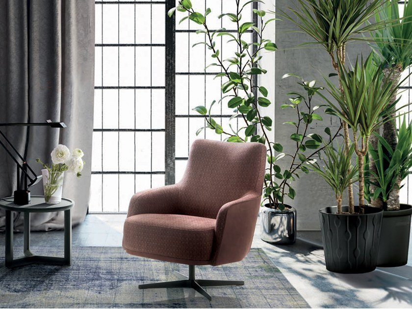 Swivel fabric armchair with 4-spoke base CANDY   Armchair with 4-spoke base by Marac