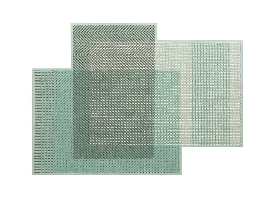 Wool rug CANEVAS GEO GREEN | Rug by GAN
