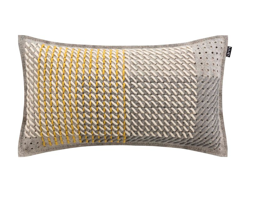 Rectangular fabric cushion CANEVAS GEO GREY | Rectangular cushion by GAN