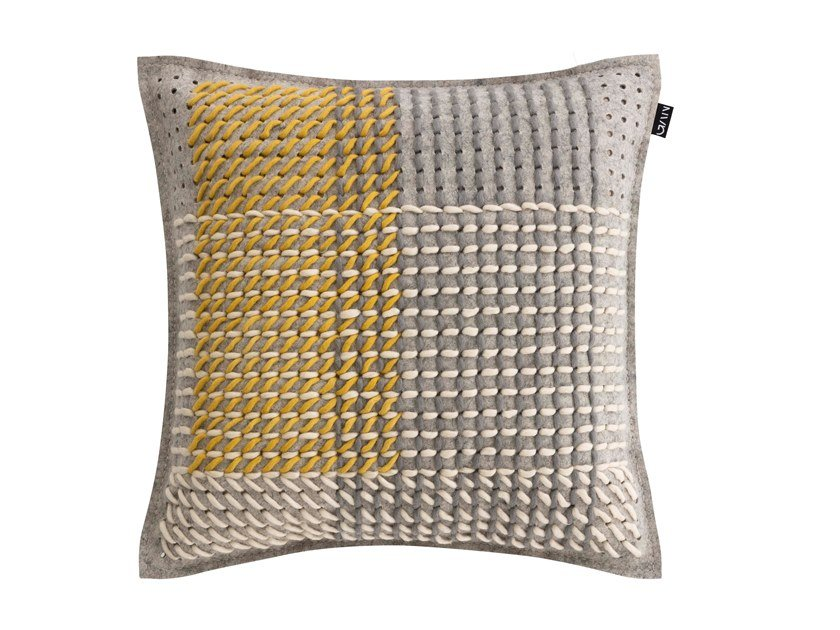 Square fabric cushion CANEVAS GEO GREY | Square cushion by GAN